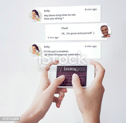 A cropped shot of of someone texting a friend on their smart phone. All screen content is designed by us and not copyrighted by others, and upon purchase a user license is granted to the purchaser. A property release can be obtained if needed.