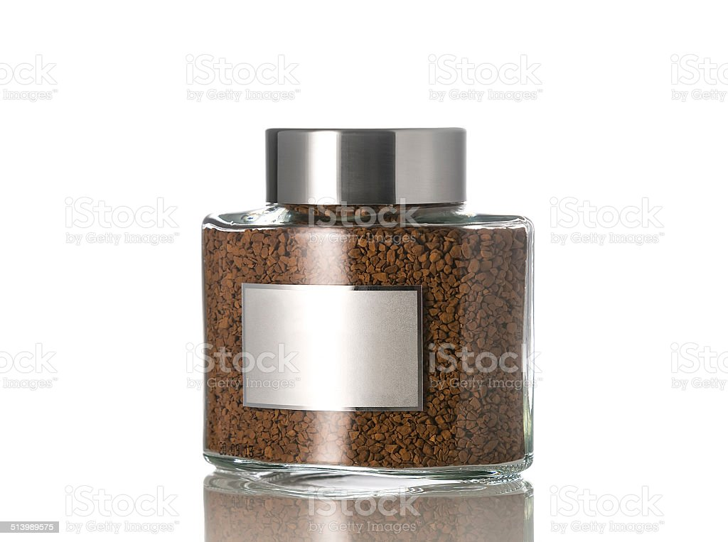 Instant coffee in the glass jar, Isolated on white. stock photo