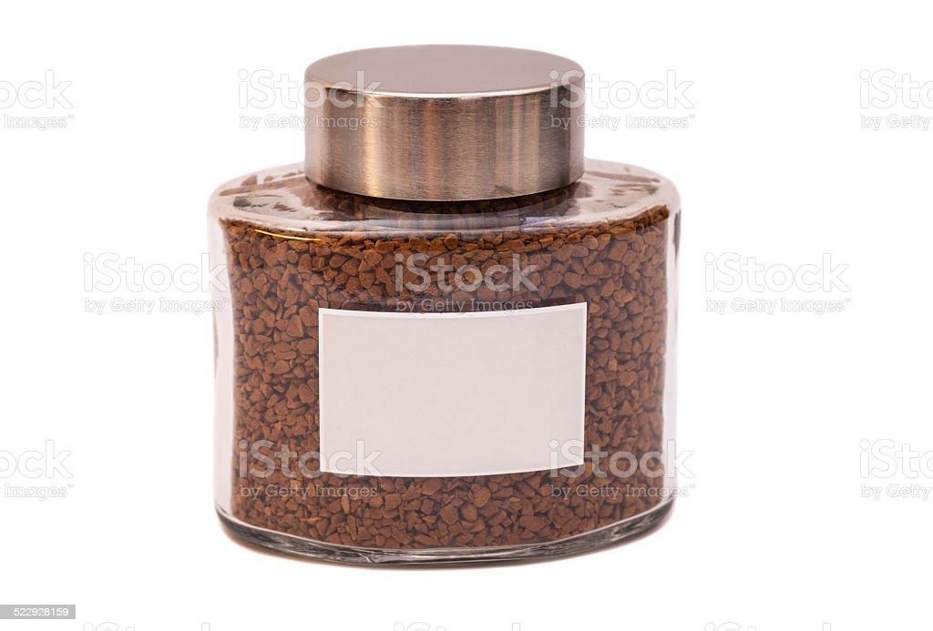 Instant coffee jar stock photo