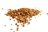 Instant coffee granules in glass bank-fragrant mixture.