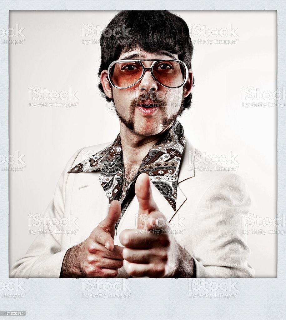 instant film disco man pointing stock photo