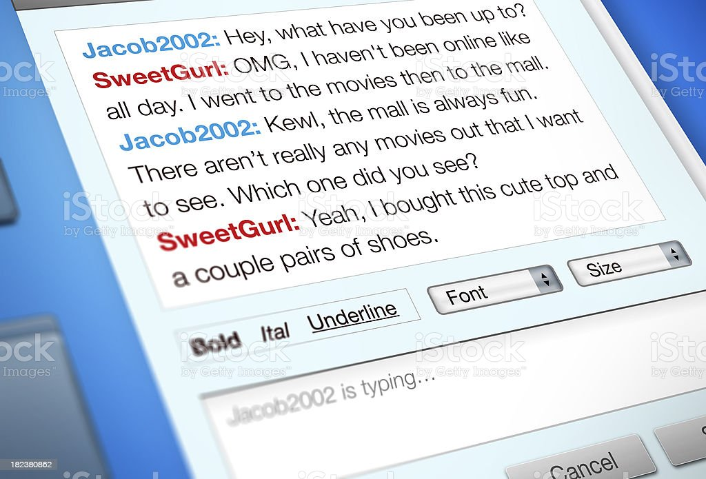 Instant Message Internet Chat stock photo