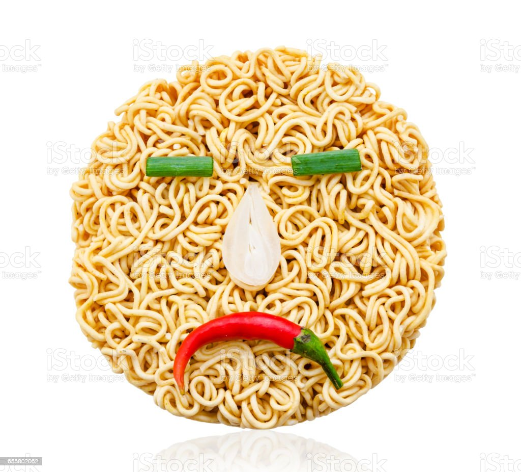 instant noodles and vegetable with sadly emotion stock photo
