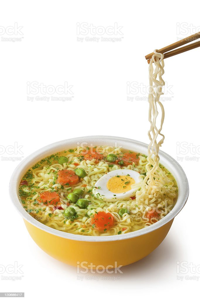 Instant noodles with chopsticks stock photo