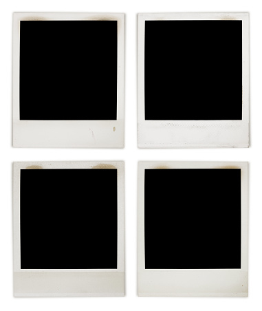 Instant Photo Frame Collection, very detailed and grungy with black center isolated on white excluding the shadows
