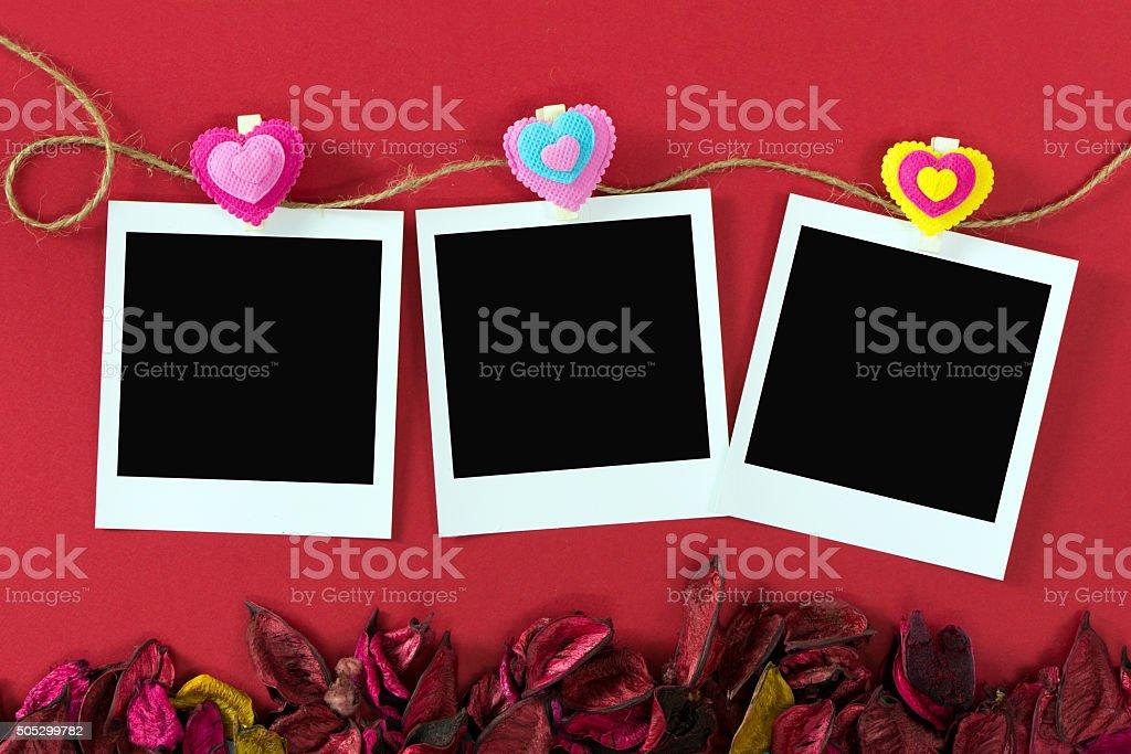 Instant photo frames for Valentine's theme stock photo