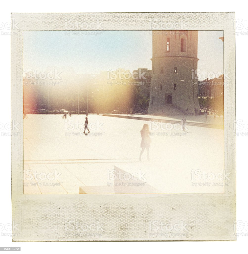 Instant photo of blurred people walking royalty-free stock photo