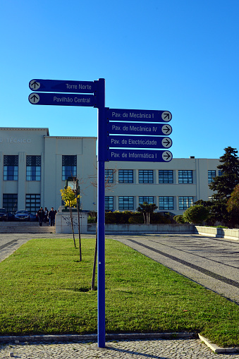 Instituto Superior Técnico (IST), locally know simply as 'Técnico' is Portugal's most prestigious engineering school - signpost - Lisbon