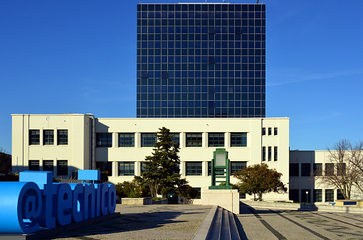 Instituto Superior Técnico (IST), @tecnico logo, Mechanical engineering building and the North tower - Lisbon
