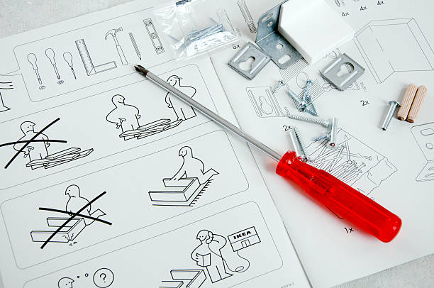 IKEA instruction manual with screwdriver and screws stock photo