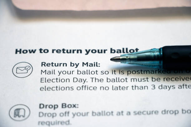 instructions on a voting envelope with pen - ballot stock pictures, royalty-free photos & images