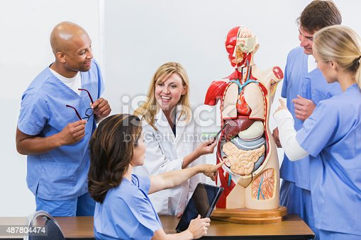 istock Instructor and students in medical school anatomy class 487804474