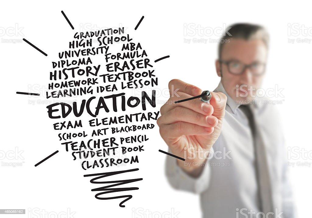 Instructor cretaing a New Education Idea stock photo