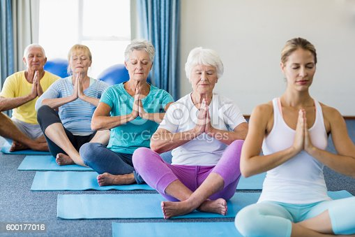 600177016 istock photo Instructor performing yoga with seniors 600177016
