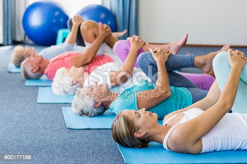 600177016 istock photo Instructor performing yoga with seniors 600177166