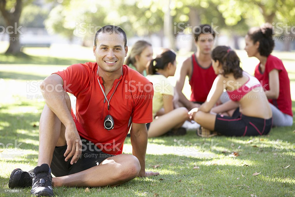 Instructor Running Fitness Boot Camp stock photo