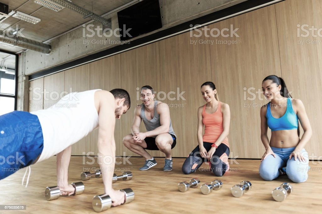 Instructor showing new technics in gym