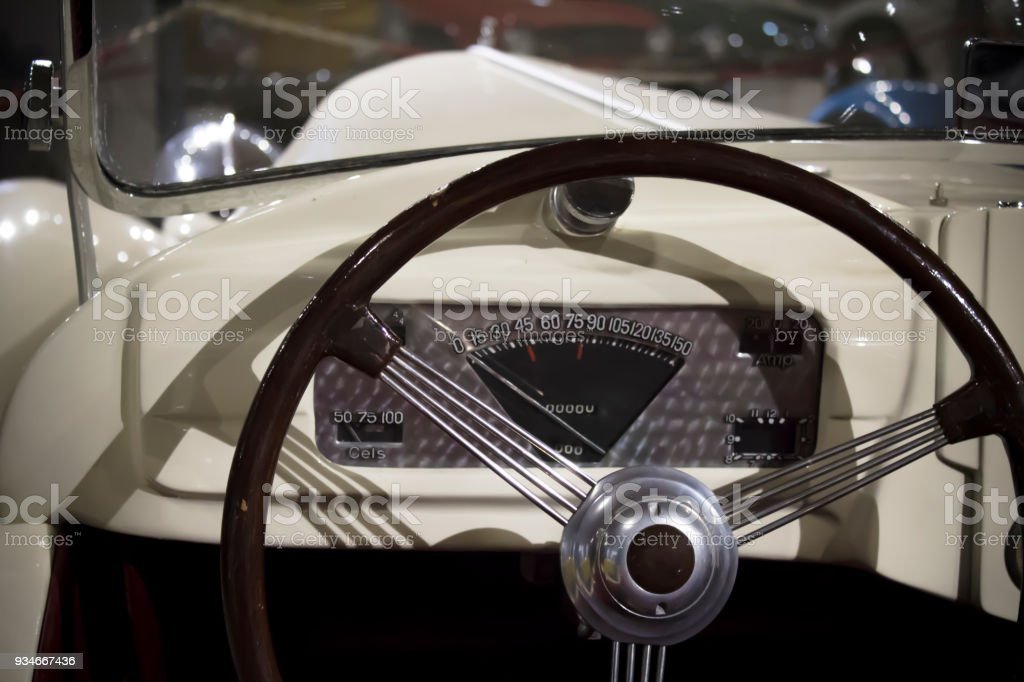 Instrument Board In The Vintage Car Stock Photo & More Pictures of ...