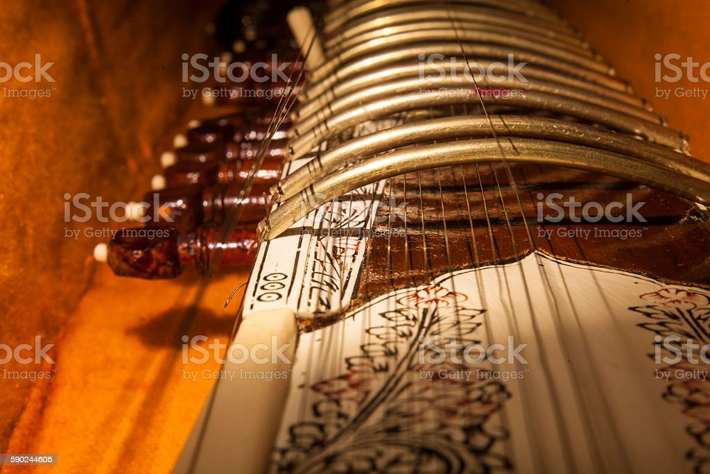 Instrument case with Sitar, a string traditional Indian musical stock photo