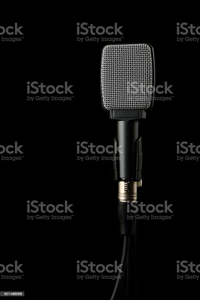 Instrument Microphone on Black Background foto stock royalty-free