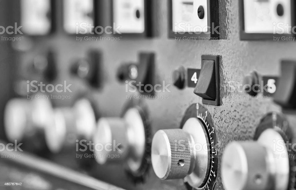 Instrument panel . Black and white stock photo