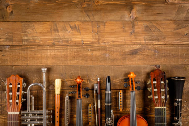 instruments background - harpist stock photos and pictures
