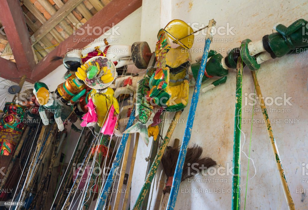 Hanoi, Vietnam - Sep 20, 2015: Instruments for controlling puppet behind stage of Vietnamese water puppetry in ward village water puppet Dao Thuc stock photo