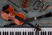 istock instruments in wooden background 1219335521
