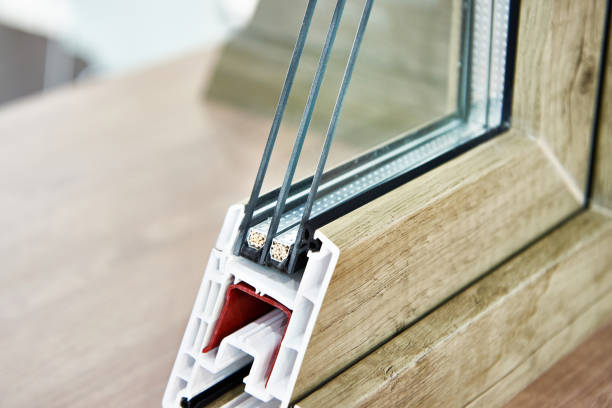 Insulated triple glazing cross section stock photo