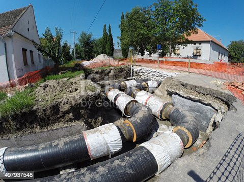 Insulated underground pipes for district heating