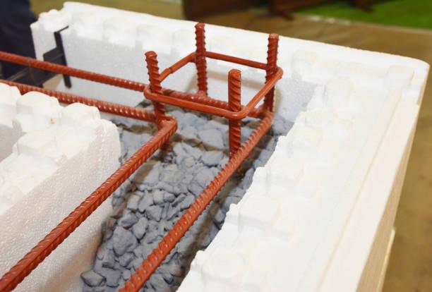 Isolerend beton vormt ICF met metalen gewapend betonnen huismuren. Isolerende betonvormen ICF gemaakt van plastic schuim dat bouwploegen stapelen in de vorm van de muren van een gebouw. foto