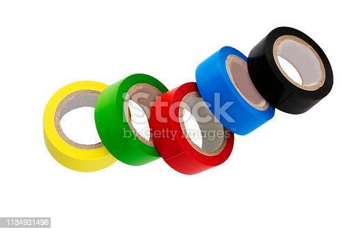 Insulating Tape isolated on white background. Set of different colors insulating tape.