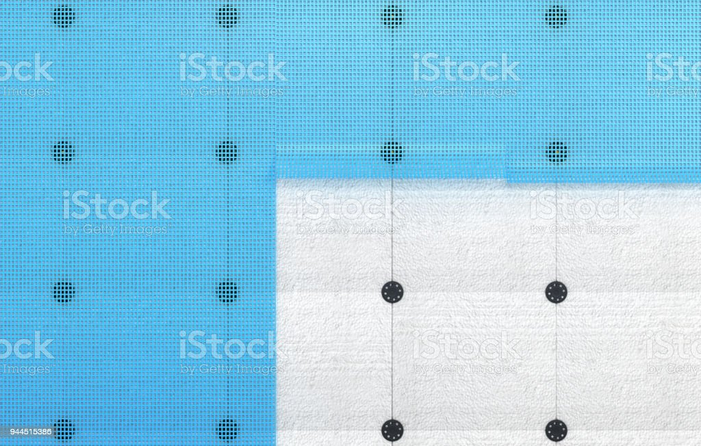 Insulation of walls made of expanded polystyrene and mesh. 3d illustration stock photo