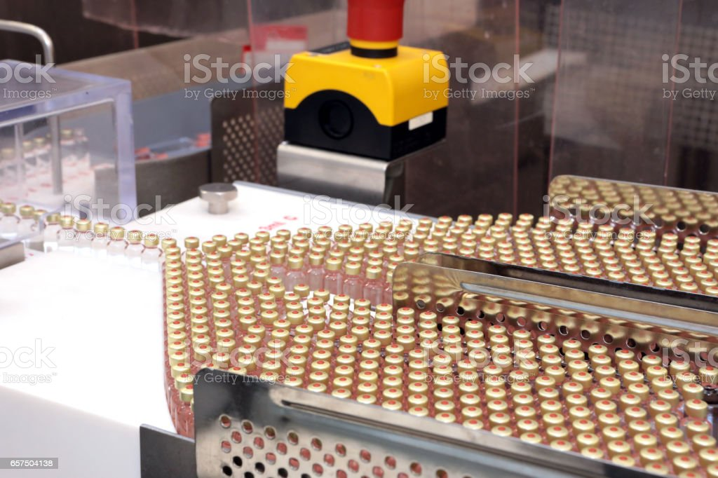 Insulin production line. Industrial release of insulin in cartridges. Insulin cartridge for diabetics. Cartridge 3 ml of insulin. stock photo