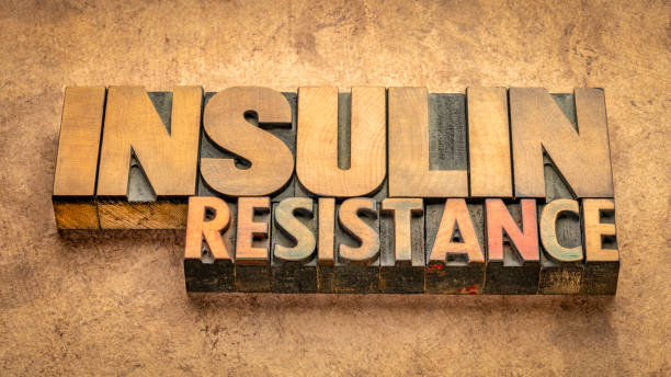 insulin resistance word abstract in wood type stock photo