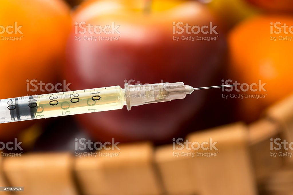 insulin with Fruit stock photo