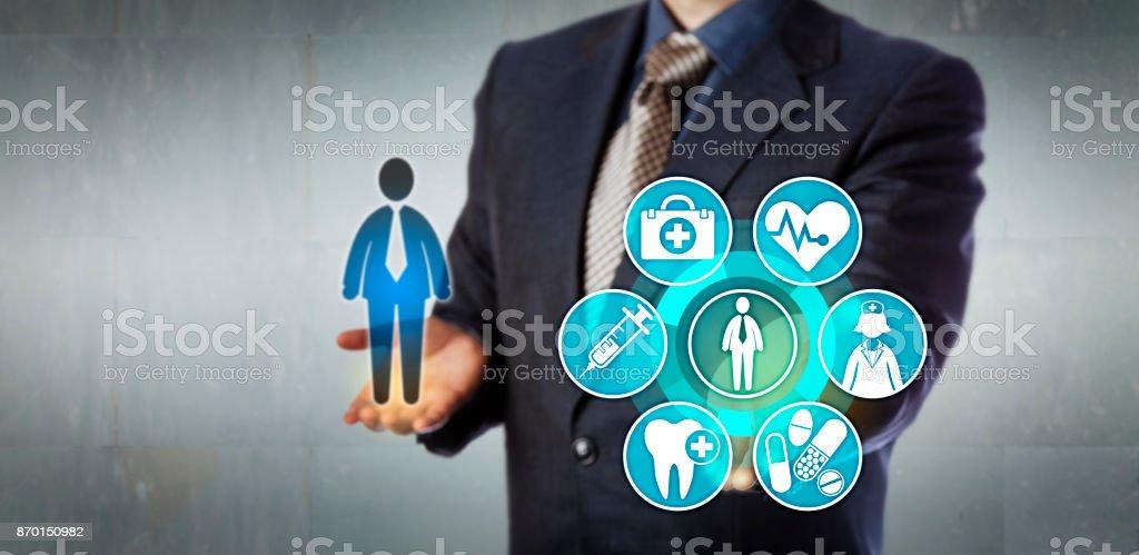 Insurance Administrator Presenting Monitoring App stock photo
