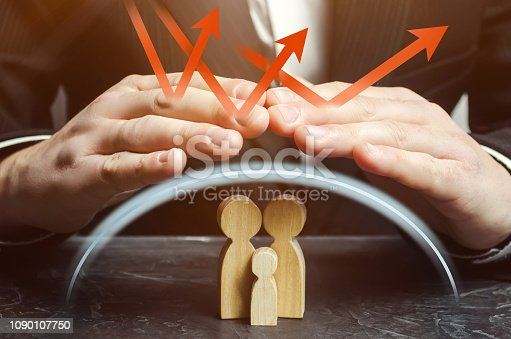958039576 istock photo Insurance agent holds hands over family. The concept of insurance of family life and property. Health care. Security and Property Protection. Family care and helping hand concept. Health insurance. 1090107750