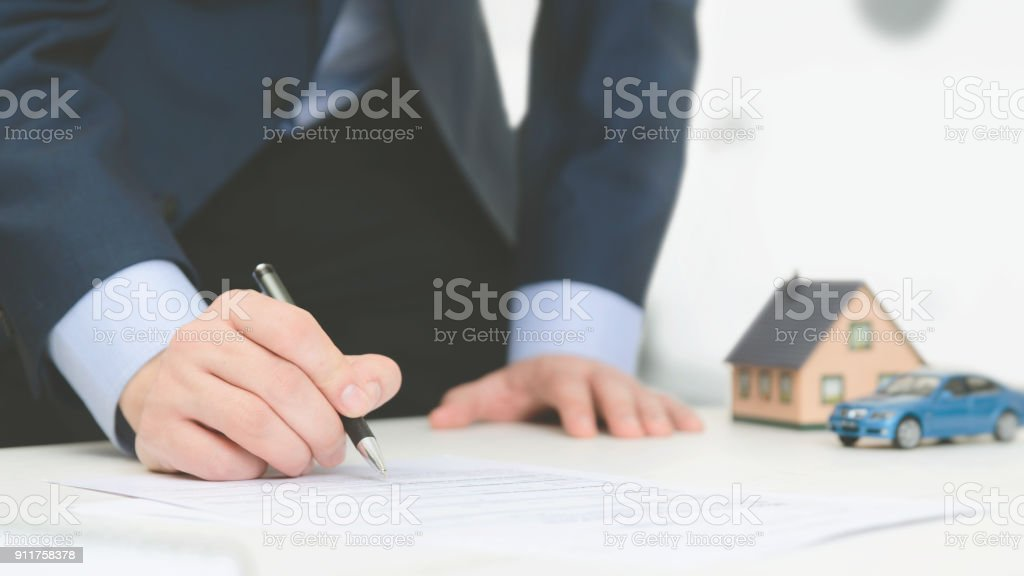Insurance agent in office stock photo