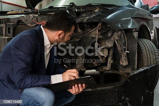istock Insurance Agent Looking at Car 1036215482
