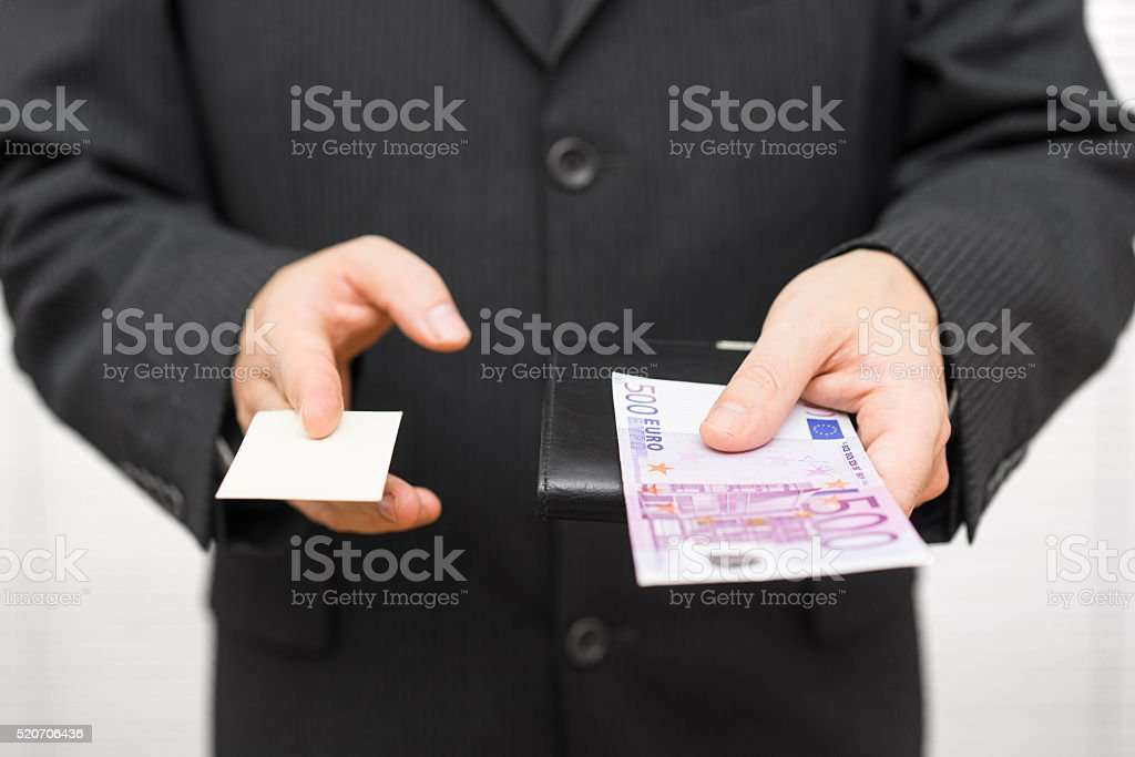 Insurance agent wants to convince the client with money stock photo