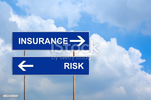 istock Insurance and risk on blue road sign 480409581