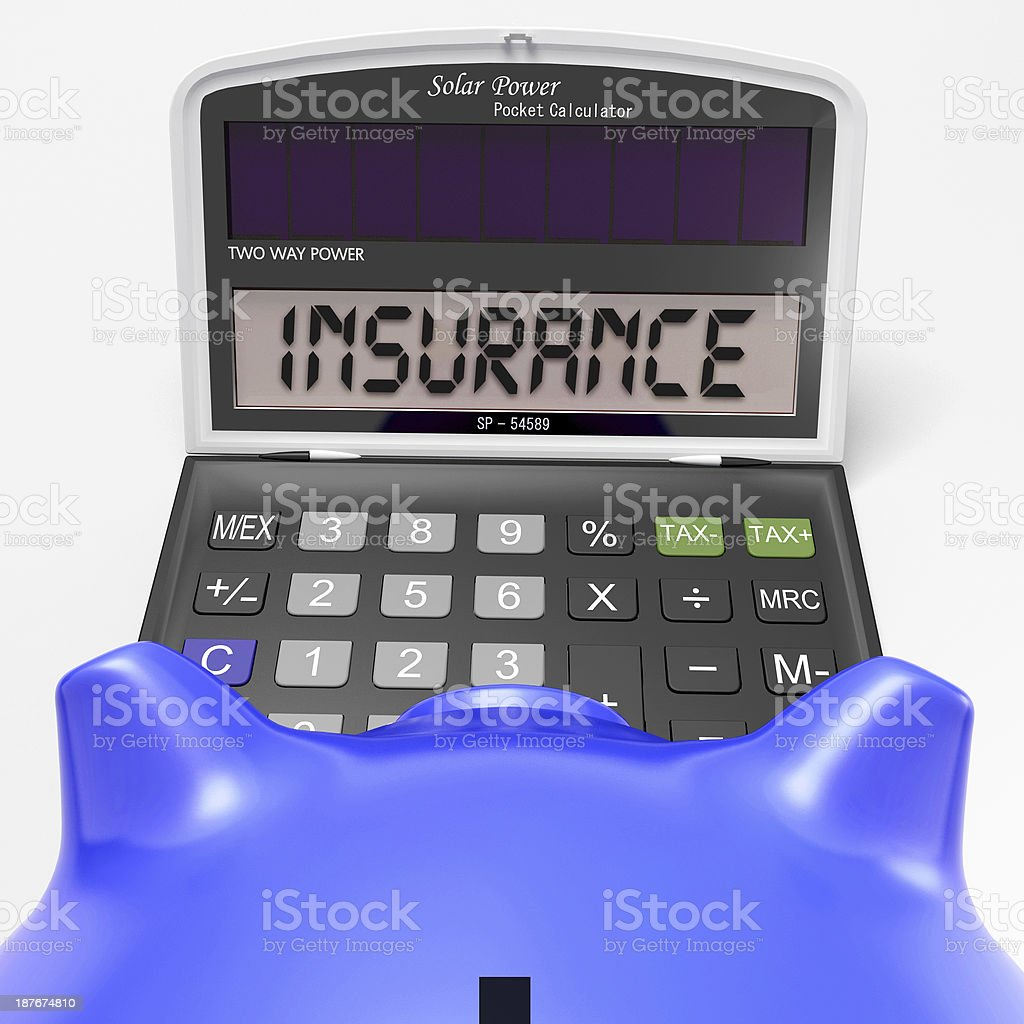 Insurance Calculator Shows Protection Through Secure Policy royalty-free stock photo