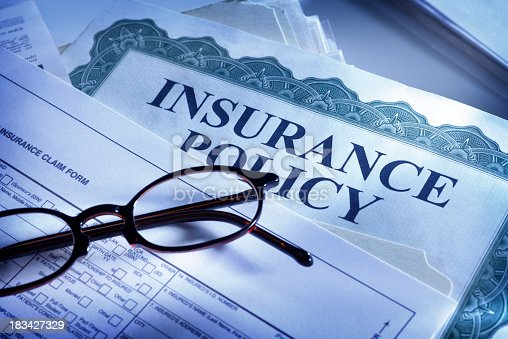 istock Insurance claim form and insurance policy 183427329