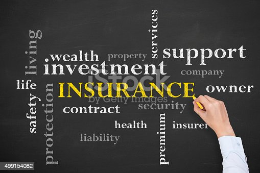 494997002 istock photo Insurance Concept on Chalkboard 499154082
