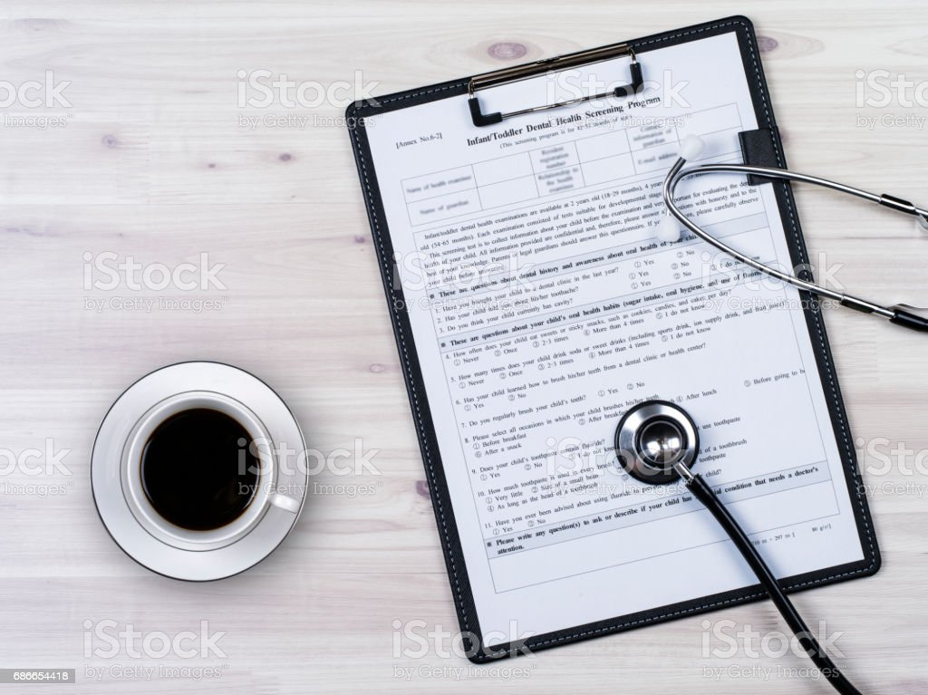 Insurance contract and stethoscope royalty-free stock photo