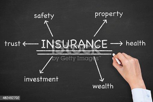 494997002 istock photo Insurance Diagram on Blackboard 482452702