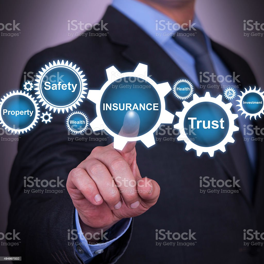 Insurance Gear Solution Concept stock photo