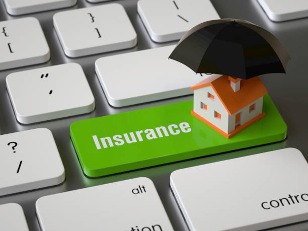 Insurance Insurance key on the keyboard, 3d rendering,conceptual image. home insurance stock pictures, royalty-free photos & images