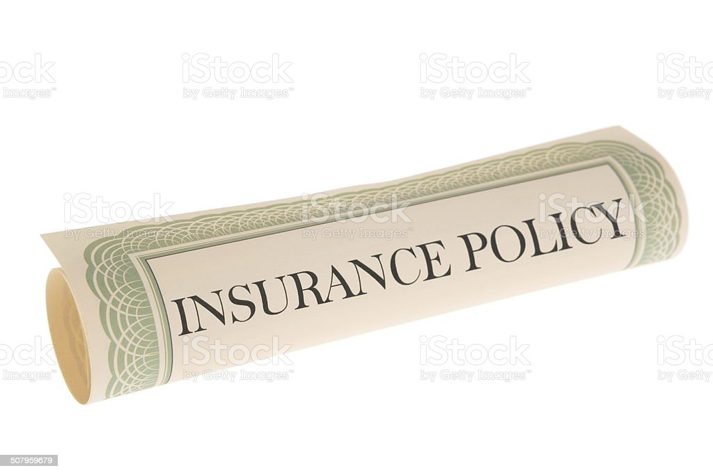 Insurance Policy - Scroll Document on White Background stock photo